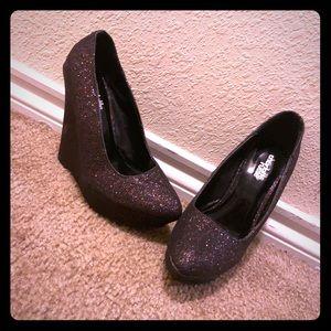 """Glitter 5"""" wedge heels"""